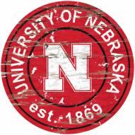 Nebraska Cornhuskers Distressed Round Sign