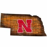 Nebraska Cornhuskers Distressed State with Logo Sign