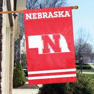 Nebraska Cornhuskers NCAA Applique 2-Sided Banner Flag