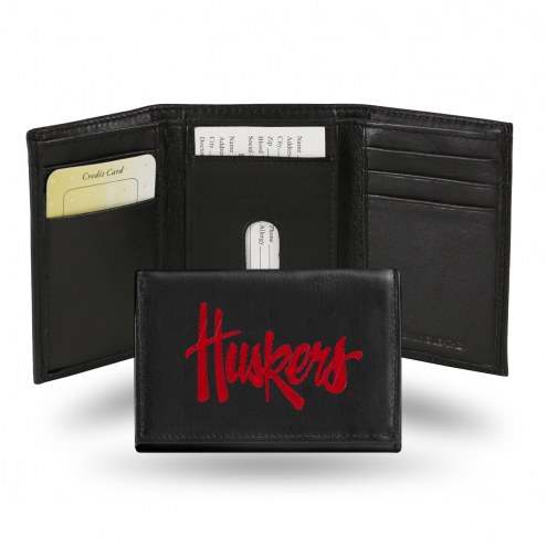 Nebraska Cornhuskers Embroidered Leather Tri-Fold Wallet