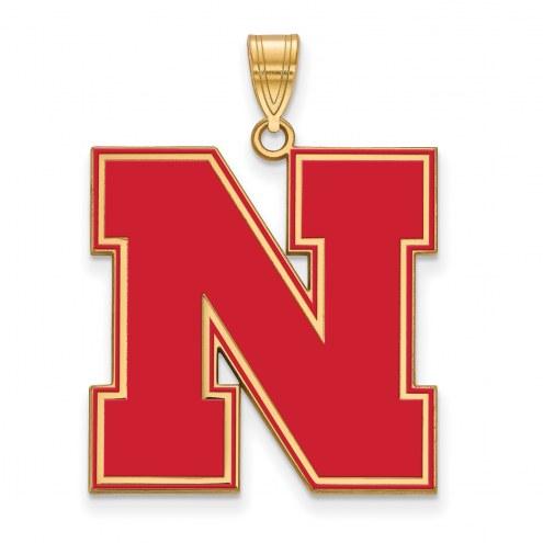 Nebraska Cornhuskers Sterling Silver Gold Plated Extra Large Enameled Pendant