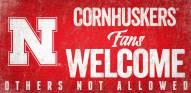 Nebraska Cornhuskers Fans Welcome Wood Sign