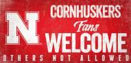 Nebraska Cornhuskers Fans Welcome Wood Sign