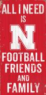 Nebraska Cornhuskers Football, Friends & Family Wood Sign