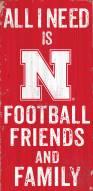 Nebraska Cornhuskers Football, Friends & Family Wood Sign