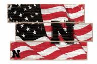 Nebraska Cornhuskers Flag 3 Plank Sign