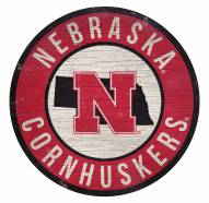 Nebraska Cornhuskers Round State Wood Sign