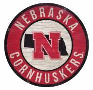 Nebraska Cornhuskers Round State Wood Sign