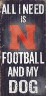Nebraska Cornhuskers Football & Dog Wood Sign