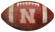Nebraska Cornhuskers Football Shaped Sign