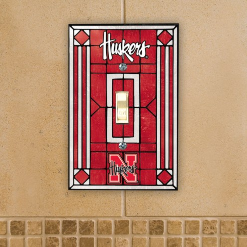 Nebraska Cornhuskers Glass Single Light Switch Plate Cover