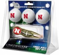 Nebraska Cornhuskers Gold Crosshair Divot Tool & 3 Golf Ball Gift Pack