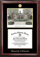 Nebraska Cornhuskers Gold Embossed Diploma Frame with Campus Images Lithograph