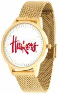 Nebraska Cornhuskers Gold Mesh Statement Watch