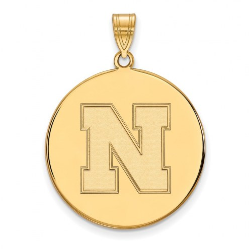 Nebraska Cornhuskers Sterling Silver Gold Plated Extra Large Disc Pendant