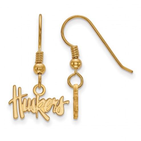 Nebraska Cornhuskers Sterling Silver Gold Plated Extra Small Dangle Earrings