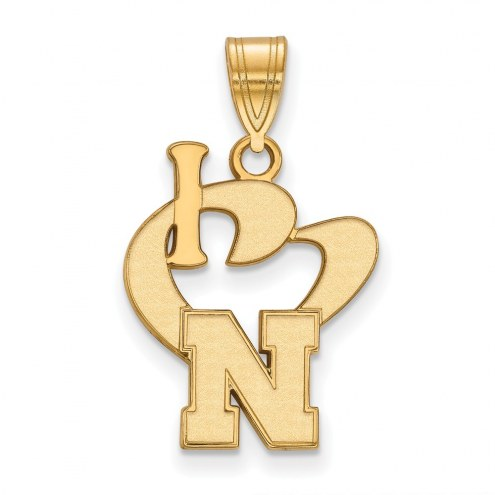 Nebraska Cornhuskers Sterling Silver Gold Plated Large I Love Logo Pendant