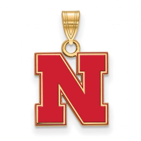 Nebraska Cornhuskers Sterling Silver Gold Plated Small Enameled Pendant