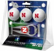 Nebraska Cornhuskers Golf Ball Gift Pack with Hat Trick Divot Tool