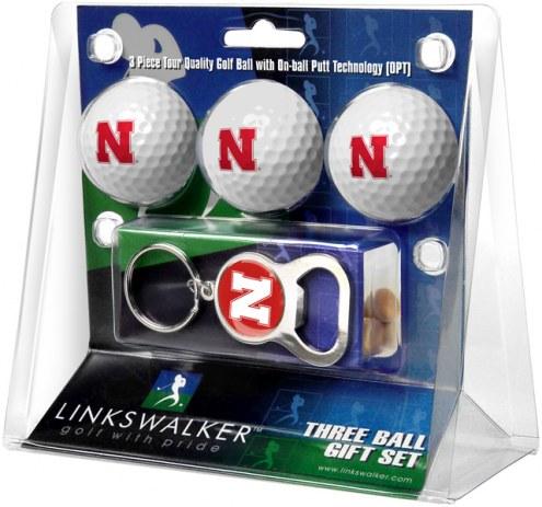 Nebraska Cornhuskers Golf Ball Gift Pack with Key Chain