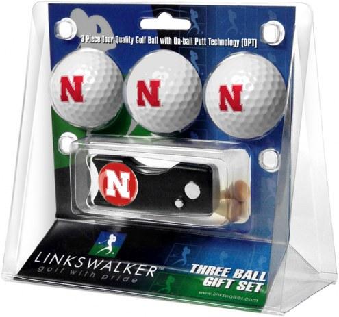 Nebraska Cornhuskers Golf Ball Gift Pack with Spring Action Divot Tool