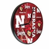Nebraska Cornhuskers Digitally Printed Wood Clock