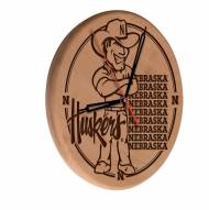 Nebraska Cornhuskers Laser Engraved Wood Clock