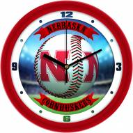 Nebraska Cornhuskers Home Run Wall Clock