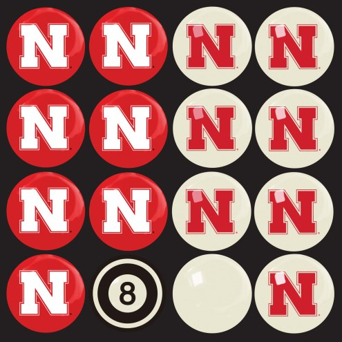 Nebraska Cornhuskers Billiard Balls - Full Set