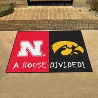 Nebraska Cornhuskers/Iowa Hawkeyes House Divided Mat