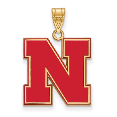 Nebraska Cornhuskers Sterling Silver Gold Plated Large Enameled Pendant