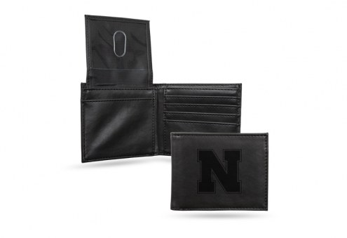 Nebraska Cornhuskers Laser Engraved Black Billfold Wallet