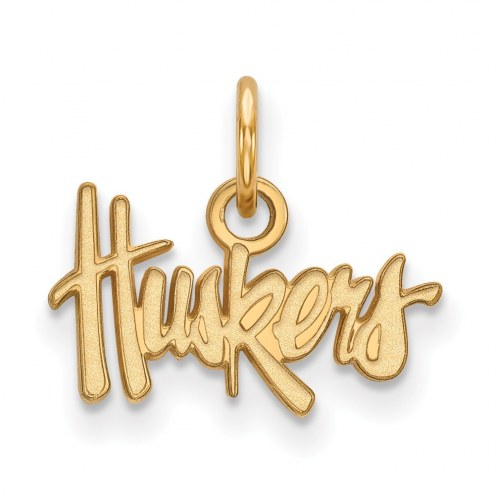 Nebraska Cornhuskers NCAA Sterling Silver Gold Plated Extra Small Pendant