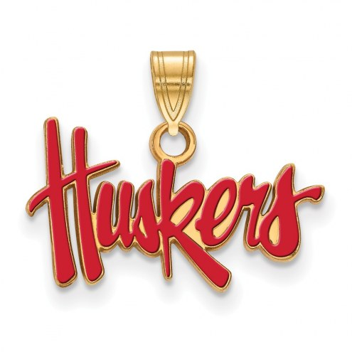 Nebraska Cornhuskers NCAA Sterling Silver Gold Plated Small Enameled Pendant