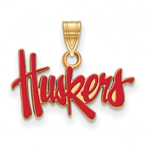 Nebraska Cornhuskers NCAA Sterling Silver Gold Plated Small Enameled Pendant