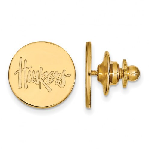 Nebraska Cornhuskers Sterling Silver Gold Plated Lapel Pin
