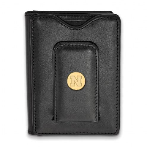 Nebraska Cornhuskers Sterling Silver Gold Plated Black Leather Wallet