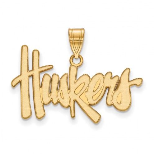 Nebraska Cornhuskers NCAA Sterling Silver Gold Plated Large Pendant