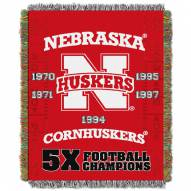 Nebraska Cornhuskers NCAA Woven Tapestry Throw Blanket