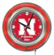 Nebraska Cornhuskers Neon Clock