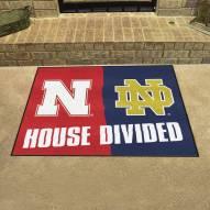 Nebraska Cornhuskers/Notre Dame House Divided Mat