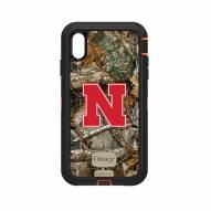 Nebraska Cornhuskers OtterBox iPhone XS Max Defender Realtree Camo Case