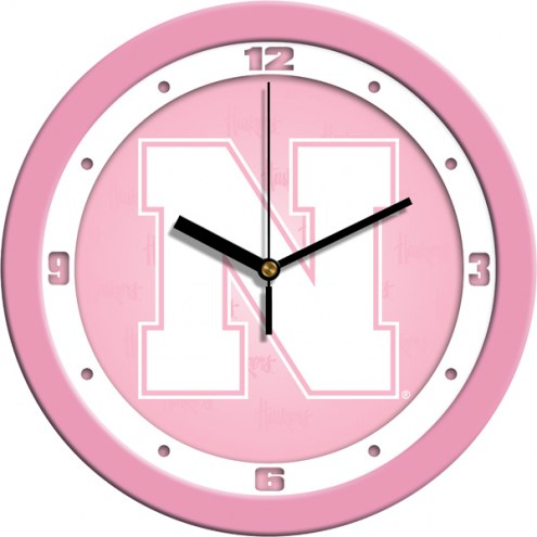Nebraska Cornhuskers Pink Wall Clock