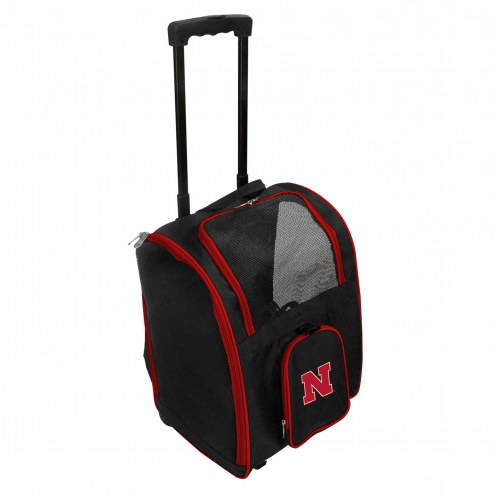 Nebraska Cornhuskers Premium Pet Carrier with Wheels