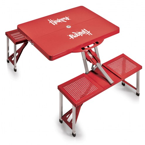 Nebraska Cornhuskers Red Folding Picnic Table