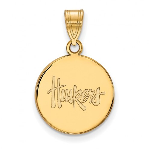 Nebraska Cornhuskers Sterling Silver Gold Plated Medium Disc Pendant