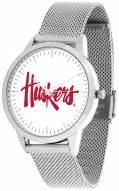 Nebraska Cornhuskers Silver Mesh Statement Watch