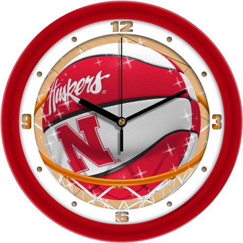 Nebraska Cornhuskers Slam Dunk Wall Clock