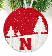 Nebraska Cornhuskers Snow Scene Ornament