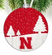 Nebraska Cornhuskers Snow Scene Ornament
